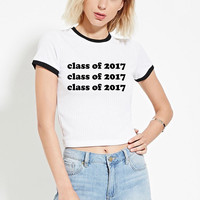 PREORDER: Class of 2017 White Ringer Tee