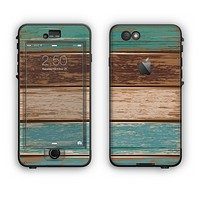 The Wooden Planks with Chipped Green and Brown Paint Apple iPhone 6 Plus LifeProof Nuud Case Skin Set