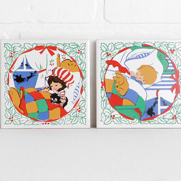 Vintage Christmas Tiles, Jasco Taiwan Ceramic Trivets with Rubber Feet, Pair of Boy and Girl Christmas Scenes with Dog and Cat