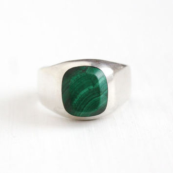 Vintage Taxco Mexican Sterling Silver Malachite Ring - Men's Size 12 Retro TR-140 Statement Banded Genuine Green Gem Heavy 925 Band Jewelry