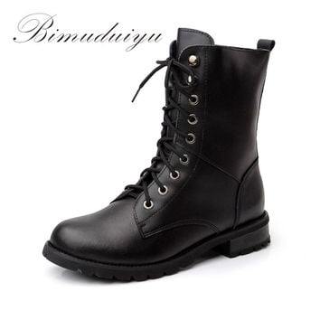 Single/Winter Warm Plush Really Leather City Lady Mid-Calf Martin Boots Waterproof Women Motorcycle Riding Shoes