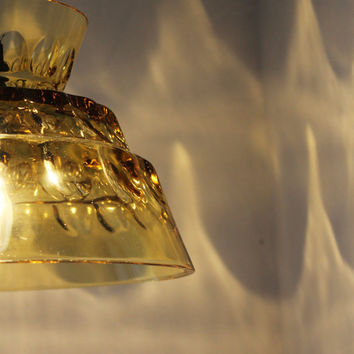 Amber Glass Pendant Light Upcycled Vintage Glassware by BootsNGus