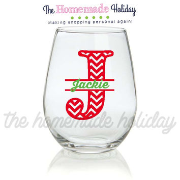Stemless Christmas Split Chevron letter Wine glass