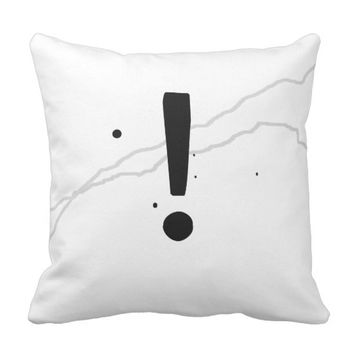 minimalist bold design pillow exclamation point