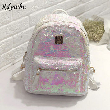 Rdywbu High Quality Women's Shinning Glitter Bling Backpack Fashion Sequins PU Leather Backpack Preppy Travel School Bag B248