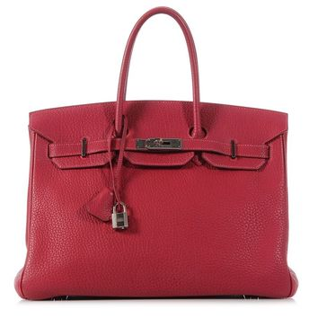 HERMES Rouge Vif Birkin 35 Bag Purse ~ Big and bright in red Fjord leather!
