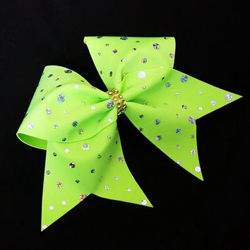 Cheer bow, neon green cheer bow, sliver sequin cheer bow, cheerleader bow, cheerleading bow, dance bow, rec cheer bow softball bow