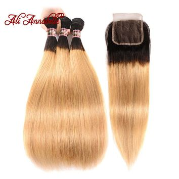 ALI ANNABELLE HAIR Ombre 1B/27 Brazilian Straight Human Hair Weave Bundles 2 Tone Blond Remy Hair 3 Bundles With Lace Closure