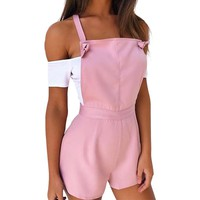 Jumpsuit 2017 Fashion Style Womens Summer Playsuit Girls Casual Overalls Women Candy Color Women'S Clothes LJ8509C