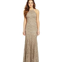 B. Darlin Sequin Lace High-Neck Dress - Taupe/Silver/Taupe