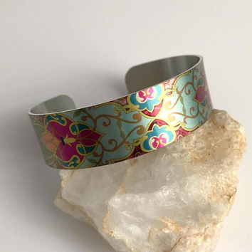 Art Cuff Bracelet, wide colorful adjustable aluminum metal statement bohemian bangle stacking bright birthday gift gifts for her woman