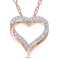 """Sterling Silver Created White Sapphire Heart Pendant Necklace, 18"""""""