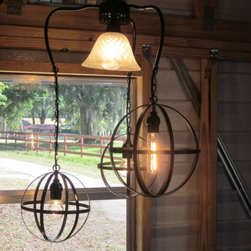 Orb Chandelier Industrial Sphere with 3 orbs  Style Metal Wine Barrel hanging Chandelier