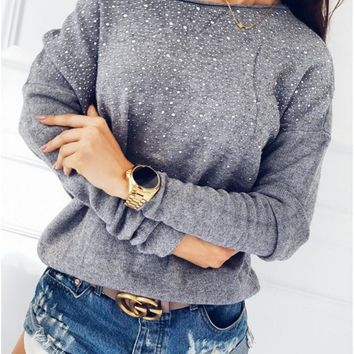 Long Sleeve Round-neck Tops [39011975183]