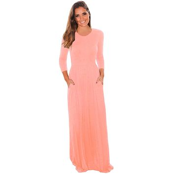 Chicloth Pink Pocket Design 3/4 Sleeves Maxi Dress