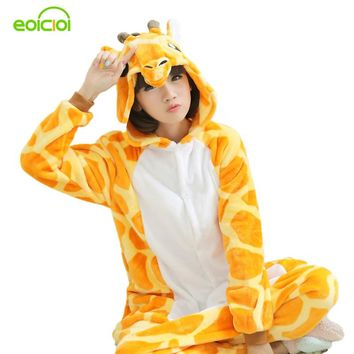 Flannel Animal giraffe Onesuit pajamas women's warm pajamas family matching outfits family matching mother daughter pajamas