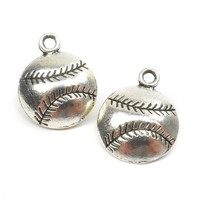 8 Silver Baseball Charm, Sports, MLB, Jewelry Supplies, ABS Bead Supplies