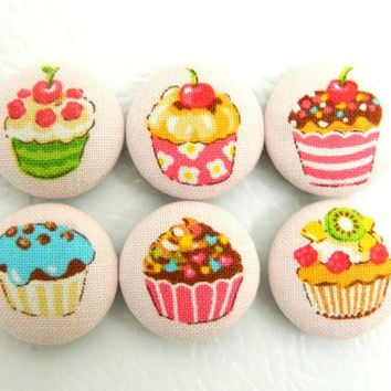 Magnets Fabric Button Cupcakes Set of 6 by PushTheButtons on Etsy