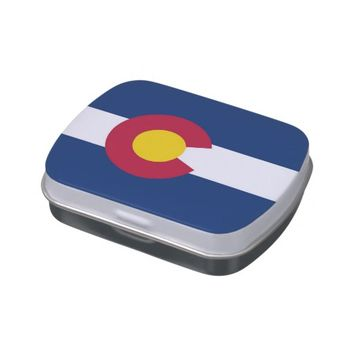 Patriotic candy tins with Flag of Colorado