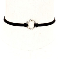 Black Suede Twisted Silver Circle Choker