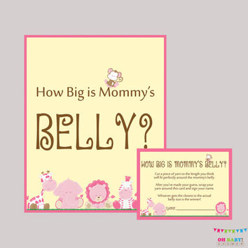 Girl How Big Is Mommy's Belly Game - Printable Safari Pink Baby Shower Belly Guessing Game Guess Belly Size - Instant Download - BS0001-P