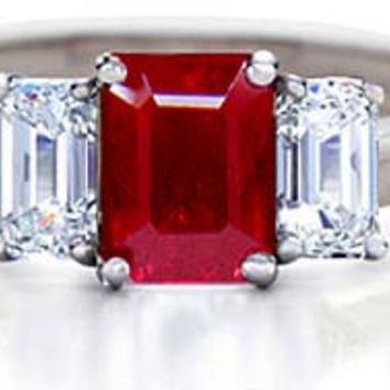 3.28ct Square Ruby Diamond Engagement Ring JEWELFORME BLUE Three stone