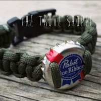Pabst Beer Bottle Cap Paracord Bracelet