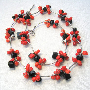 Natural Stone Cluster Necklace Red  Coral Black  Onyx  Long  Combined Freeform  unique design