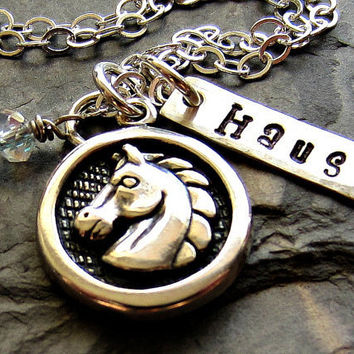 Personalized Horse Charm Pendant-Sterling Silver