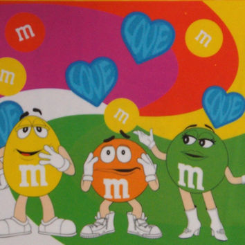 "M&M's Characters Peace Love Hearts Oversize Beach Bath Towel 30""x60"" 100% Cotton"