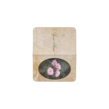 Vintage design. Photo of pink roses. Add your text Business Card Holder
