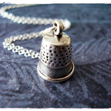 Silver Thimble Necklace - Sterling Silver Thimble Charm on a Delicate 18 Inch Sterling Silver Cable Chain