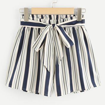 Vertical-Stripe Knot Front Shorts