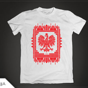 Abstract Polish T-shirt Design | ABSTRKT Poland | Red Print on White T-shirt