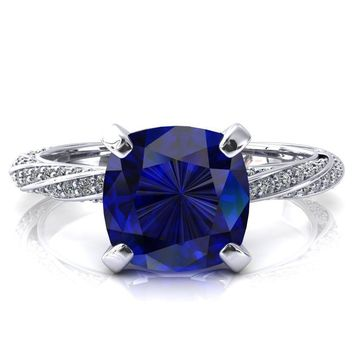 Elysia Cushion Blue Sapphire 4 Prong 3/4 Eternity Diamond Accent Ring