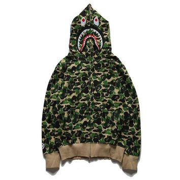 DCCK8H2 BAPE ABC SHARK Casual Fashion Sport Camouflage Long Sleeve Hooded Sweater Rose