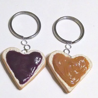 Heart-shaped Peanut Butter and Jelly Key Chains, BFF Accessories, Miniature Food, Valentine's Day