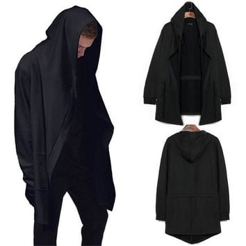 Fashion Men's Hoodie Hip Hop Style Streetwear Men's Spring Long Sleeve Pocket Hooded Cardigan Cloak Cape Coat Anime Game Uniform