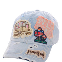 Happy Camper Wild & Free Hey Ya'll Distressed Cotton Baseball Cap Hat Light Blue Denim, Embroidered On Torn Denim Decor