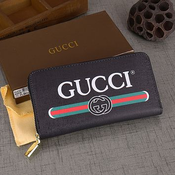 Black GUCCI Leather Flap Continental Wallet