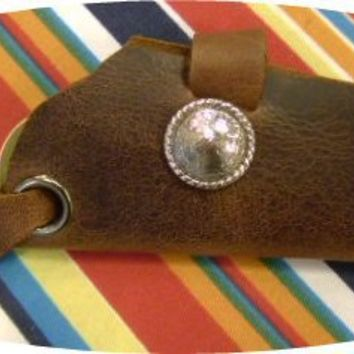 brown leather key fob holder gun holster style for belt by G2P