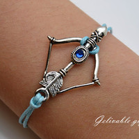 Anime Inuyasha bracelet,Kikyou arrow and bow with  shards of shikon ,antique silver bow and arrow blue wax cord leather braclet BBA02S
