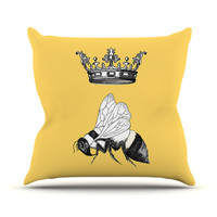 "Catherine Holcombe ""Queen Bee"" Canary Yellow Throw Pillow"