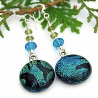 Handmade Earrings Teal Tiger Dichroic Glass Swarovski Beaded Jewelry
