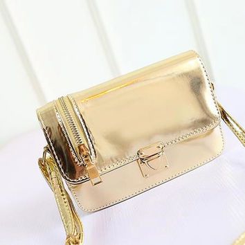 Summer Lock Metal Zippers Mirror Face Shoulder Bags [6581106439]
