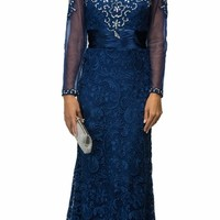 Navy Blue Lace Floor Length Dress Long Sheer Sleeves Illusion