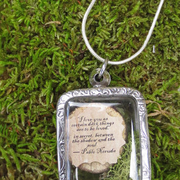 Terrarium Locket Message in a Bottle Love Poem by FaerieNest