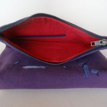 Foldover Urban Glam Violet Clutch Bag, Hand Painted Canvas Purse, , Unique Gift, Violet Bag Organizer,Cotton Clutch, Cotton Purse