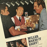 1969 Vintage Ad / Miller Makes It Right / Make Your Move to Miller / 60s Popular Mechanics Print Ad / Ready To Frame / Paper Ephemera