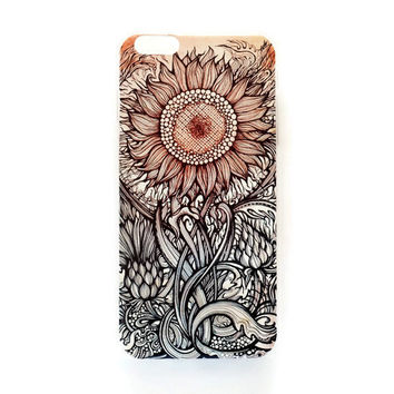 iPhone 6 Plus Case Vintage Sunflower iPhone 6 Plus Hard Case Tribal Pattern Back Cover For iPhone 6 Slim Design Case